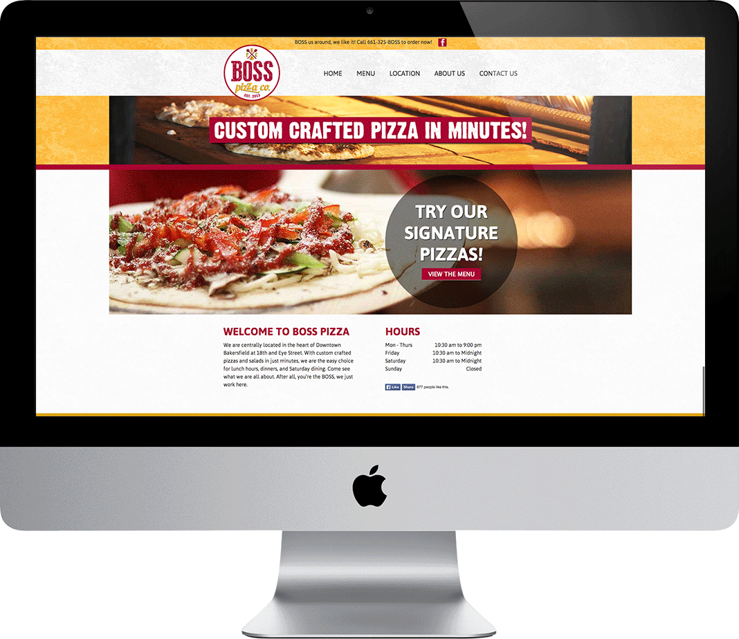 Boss Pizza Website on Desktop Computer