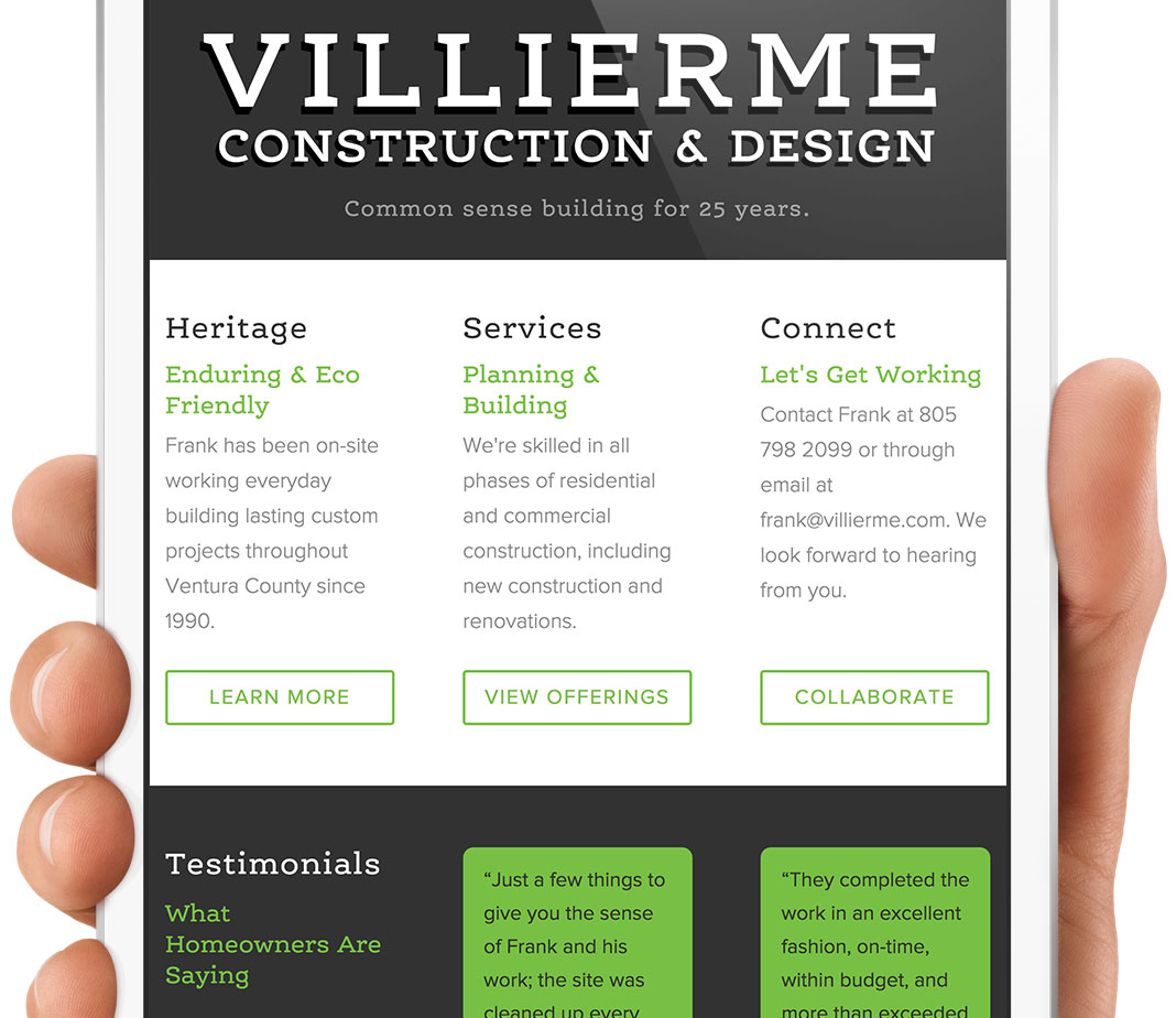Frank Villierme Construction Website
