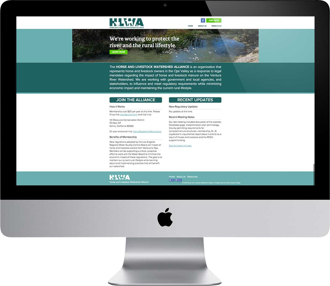 HLWA Website on Desktop Computer