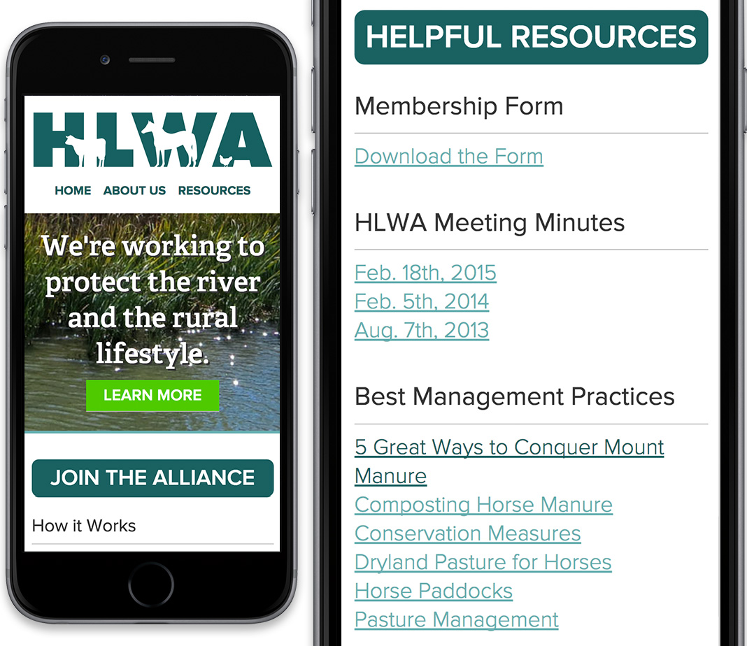 HLWA Website on Mobile Devices