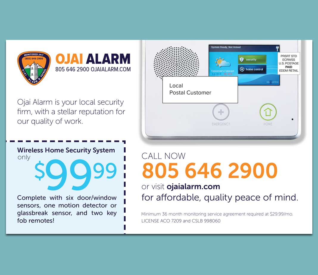 Ojai Alarm Mailer Close Up